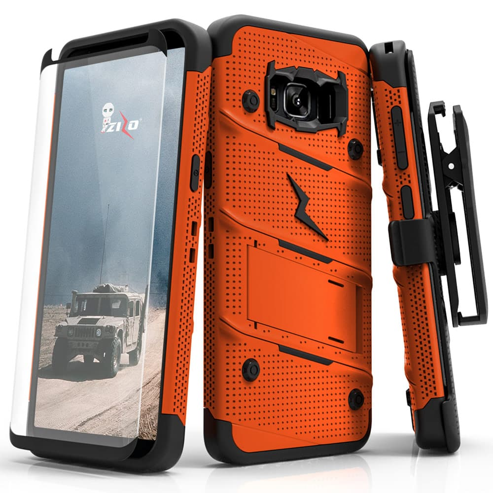 ORANGE ZIZO BOLT CASE S7 EDGE