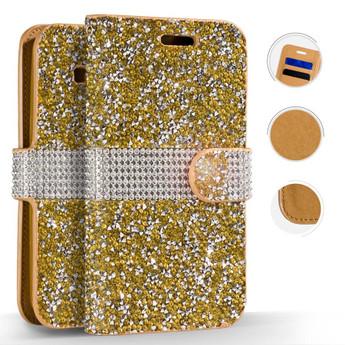LG G6 FULL DIAMOND WALLET GOLD