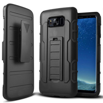 BLACK GALAXY S8 KICKSTAND CASE