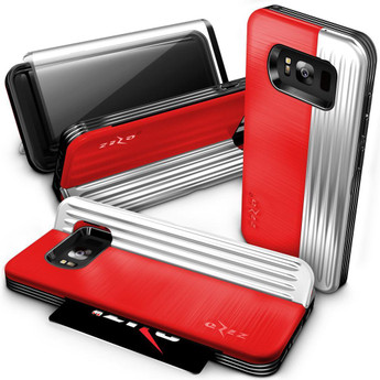 RED SILVER GALAXY S8 CASE