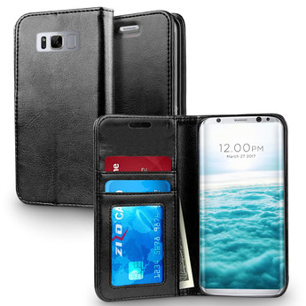 BLACK LEATHER GALAXY S8 PLUS CASE