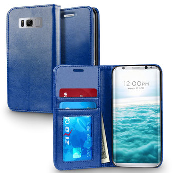 BLUE LEATHER GALAXY S8 PLUS CASE