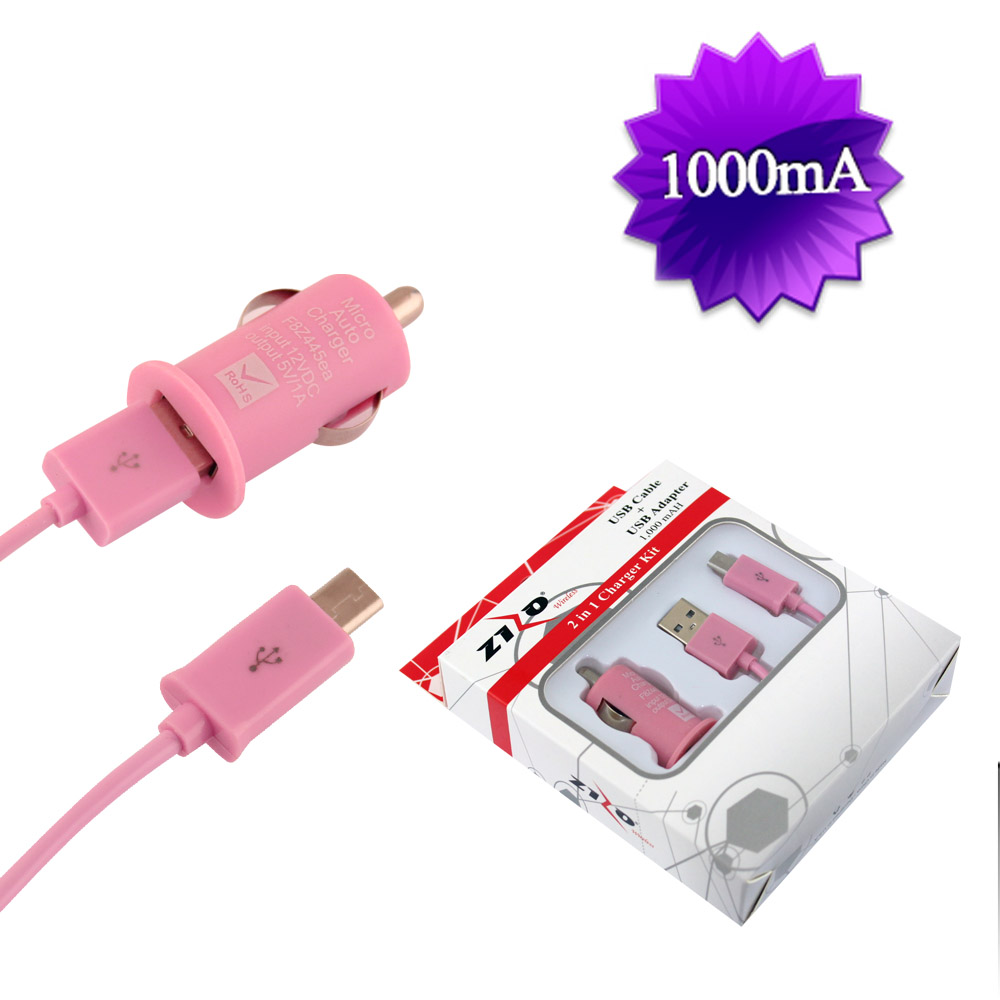 PINK UNIVERSAL CAR CHARGER KIT