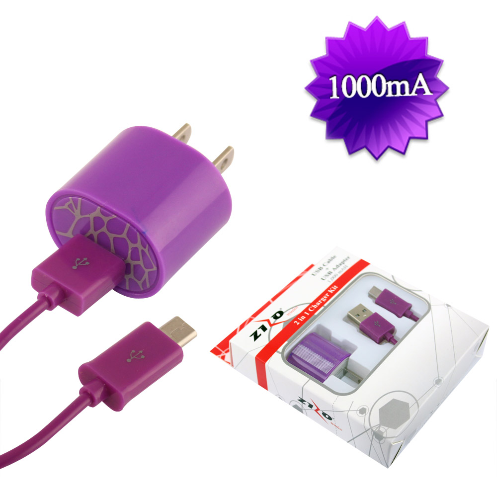 PURPLE UNIVERSAL TRAVEL CHARGER KIT