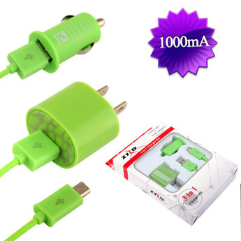 USB CAR/HOME CHARGER NEON GREEN