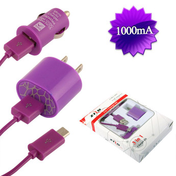 USB CAR & HOME CHARGER PURPLE