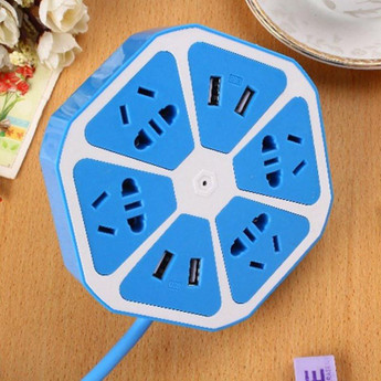 8IN1 UNIVERSAL PLUG 8 OUTLET BLUE
