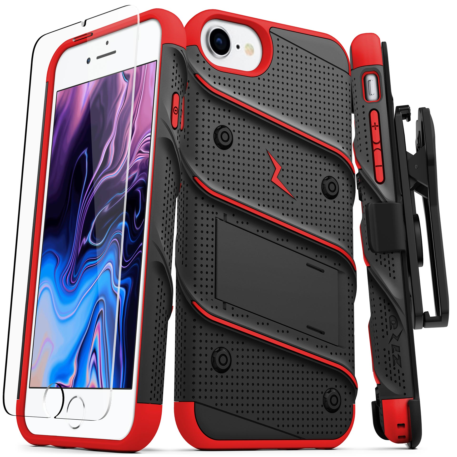 For iPhone 8 / iPhone 7 / 6s / 6 4.7in - BOLT Cover w/ Kickstand, Holster, Tempered Glass Screen Protector, Lanyard