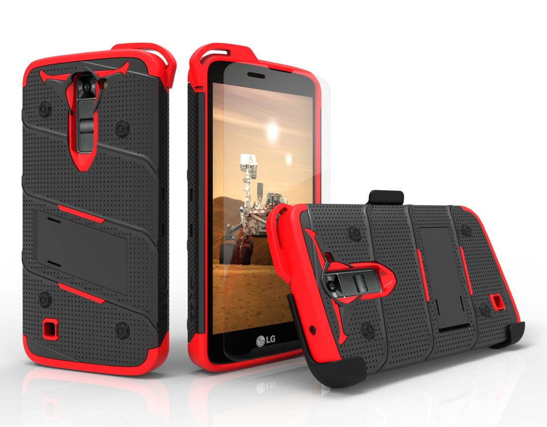 BLACK RED LG K7 HEAVY DUTY CASE