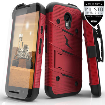 RED BLACK MOTO G 2015 WITH GLASS