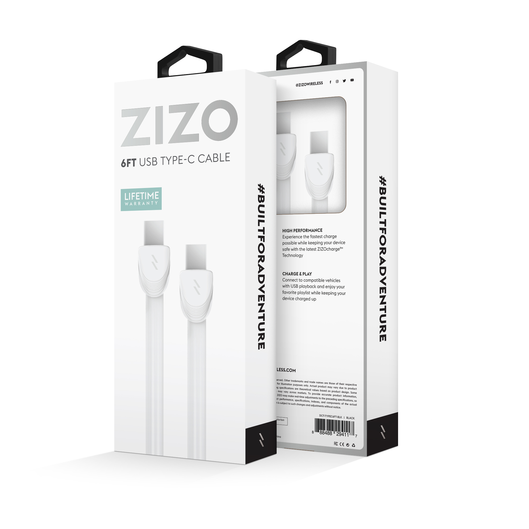 WHITE USB TYPE C CABLE 6 FEET