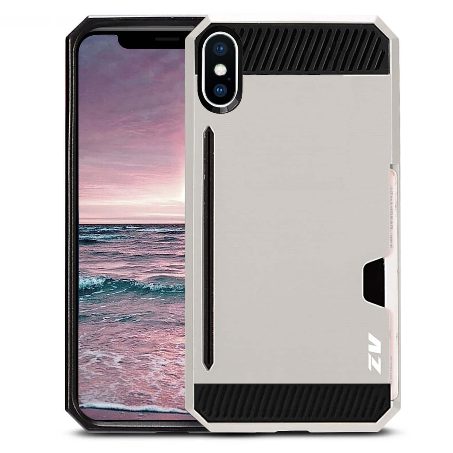 SILVER IPHONE X METAL HYBRID CASE