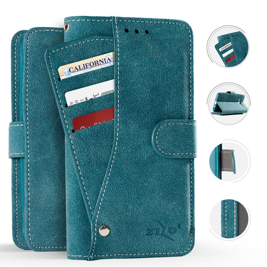 BLUE IPHONE X WALLET POUCH CASE