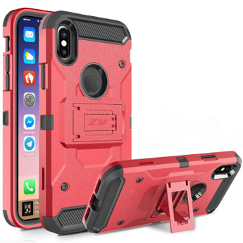 RED IPHONE X CASE WITH KICKSTAND