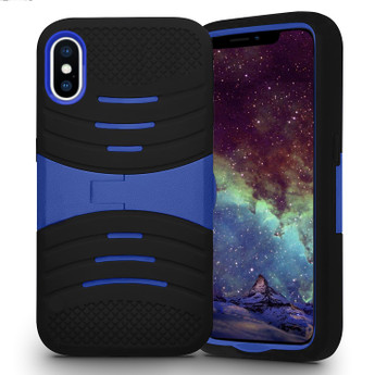 IPHONE X SILICON CASE BLACK & BLUE