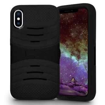 IPHONE X SILICON W/ KICKSTAND BLACK