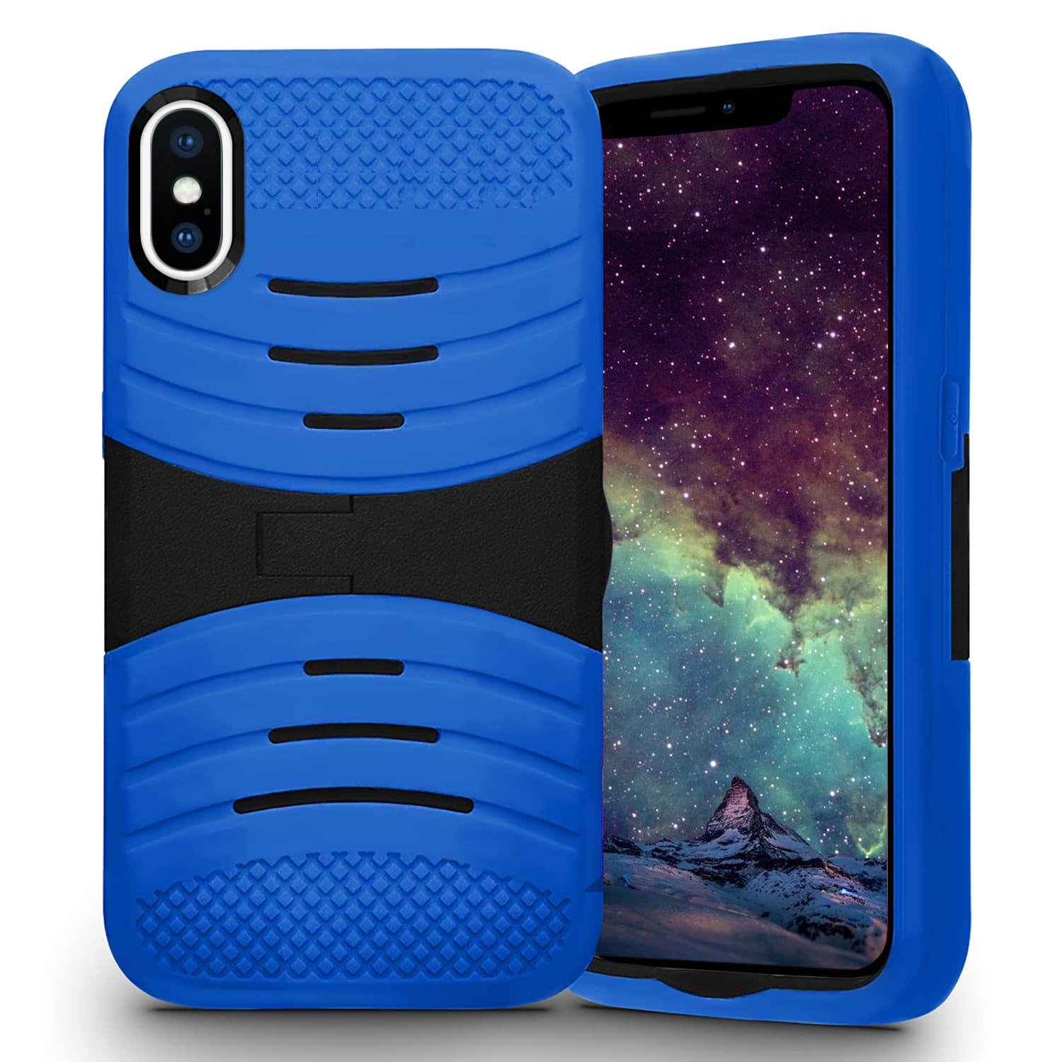 IPHONE X SILICON W/ KICKSTAND BLUE