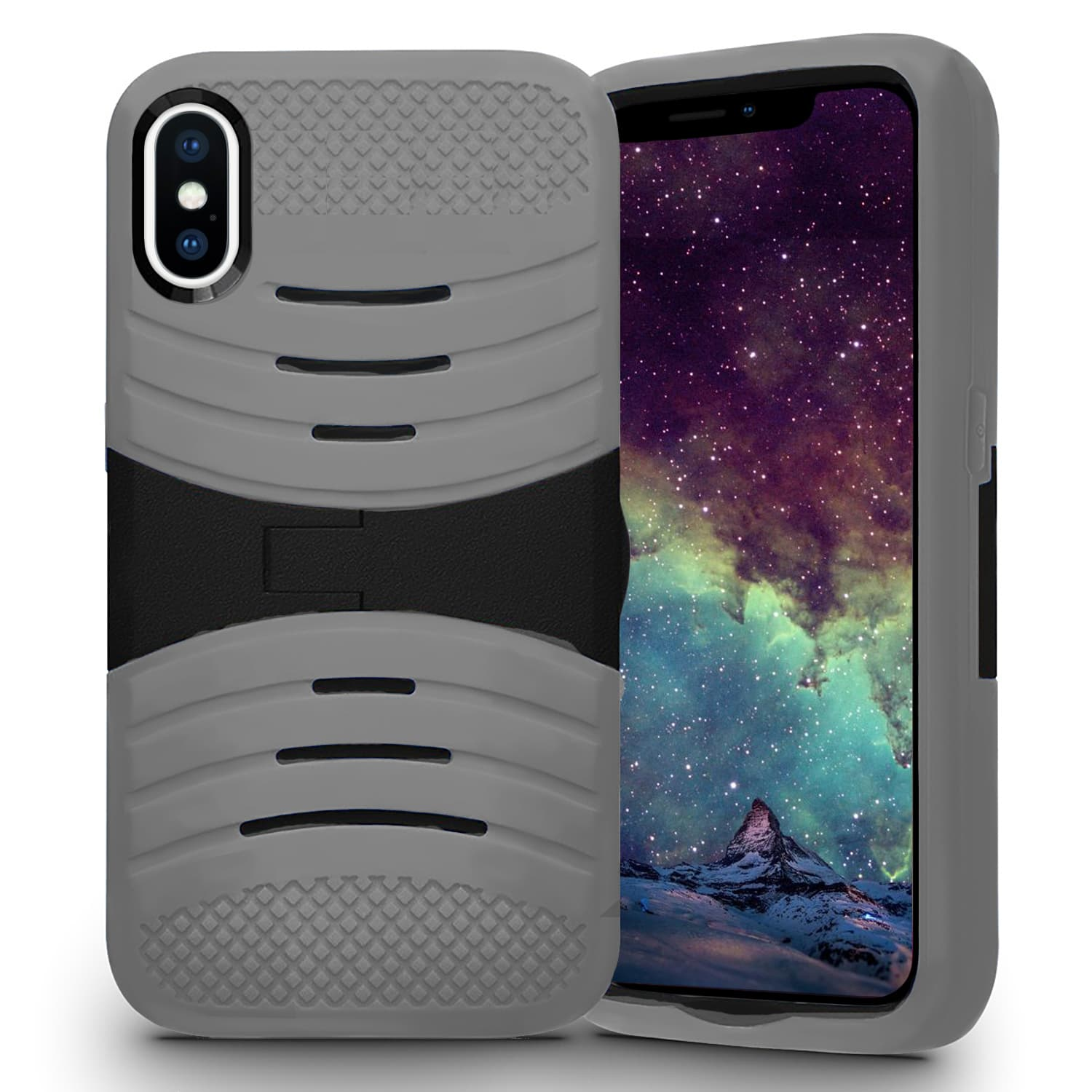 IPHONE X SILICON W/ KICKSTAND GRAY
