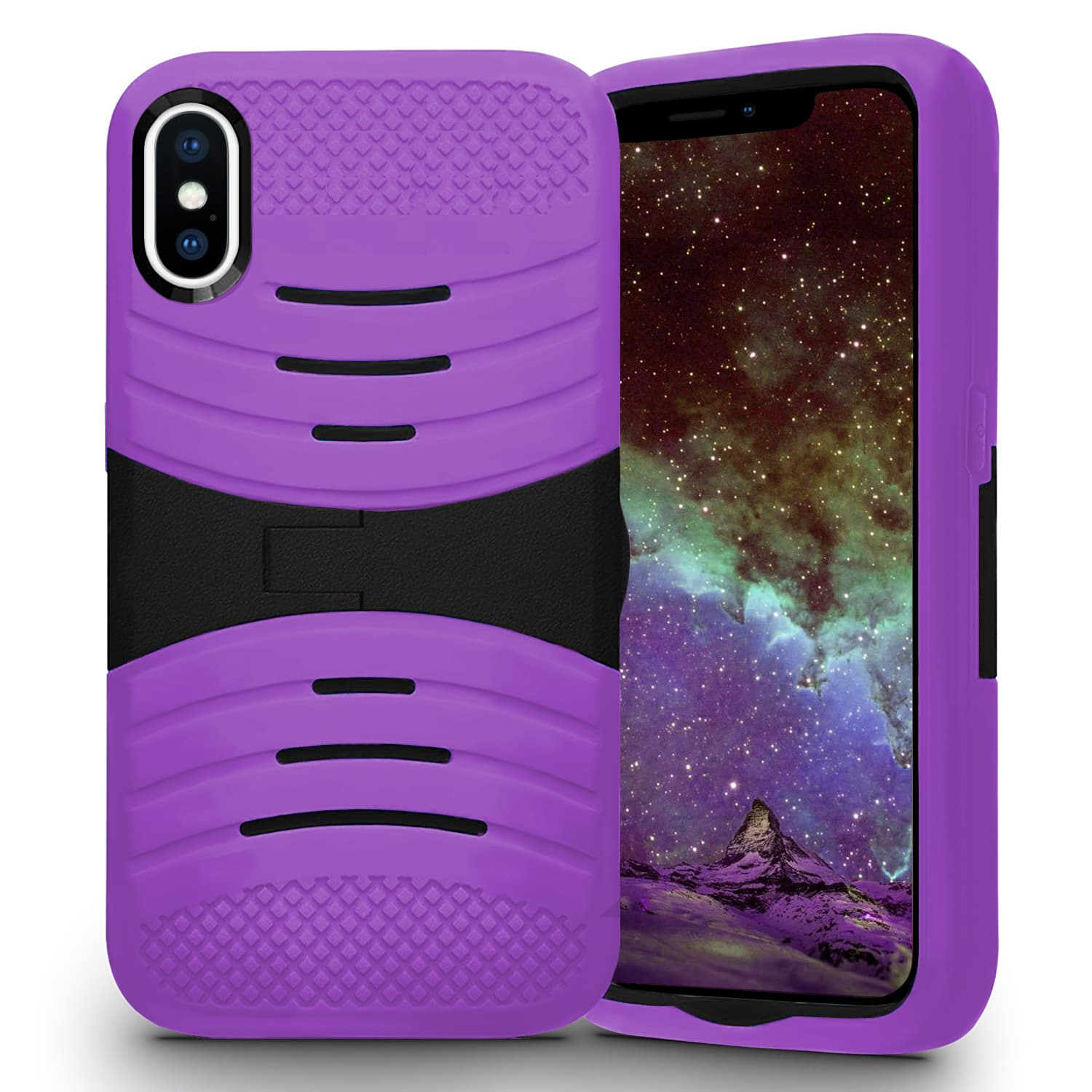 IPHONE X SILICON KICKSTAND PURPLE