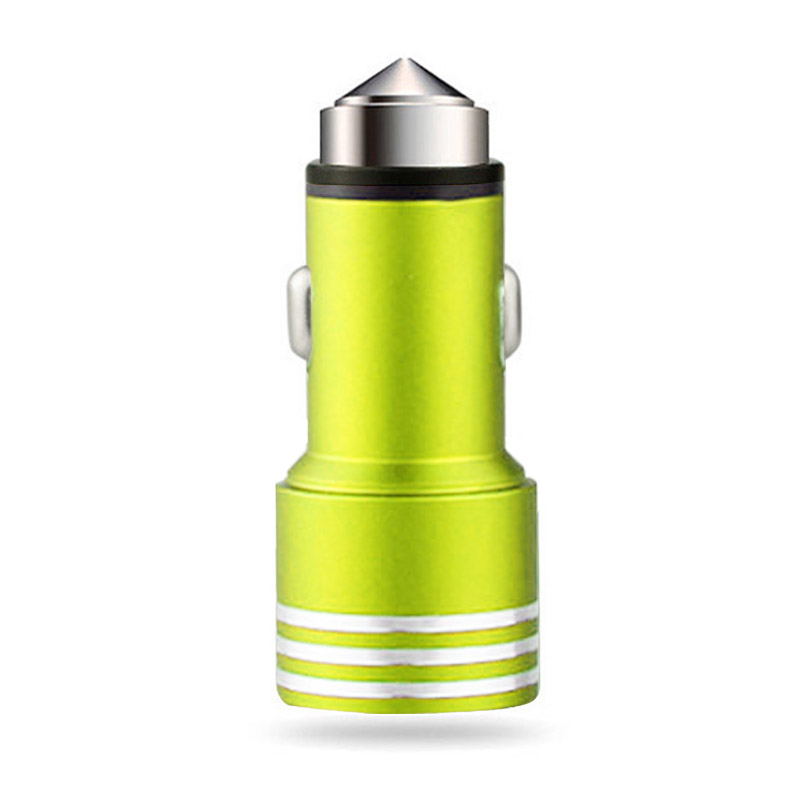 USB DUAL CAR CHARGER LIGHT GREEN