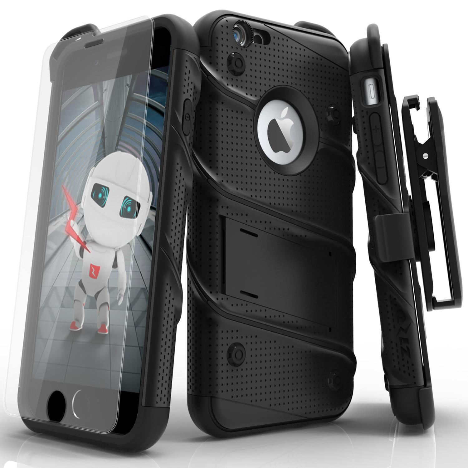 ZIZO BOLT Series for iPhone 6s Plus with Kickstand Holster and Lanyard - Black/Black