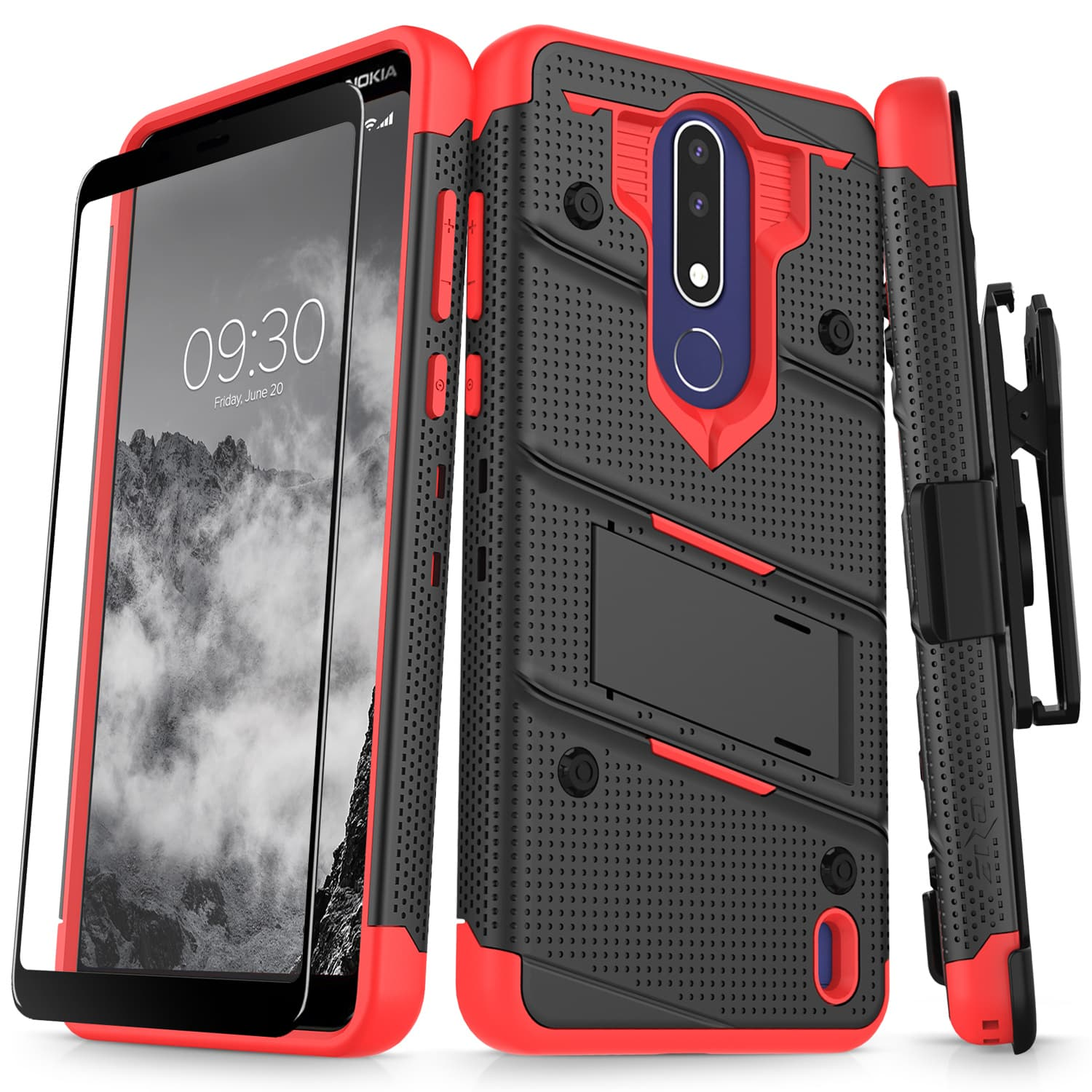 ZIZO BOLT Series for Nokia 3.1 Plus Case - Military Grade Drop Tested with Full Glass Screen Protector Holster and Kickstand