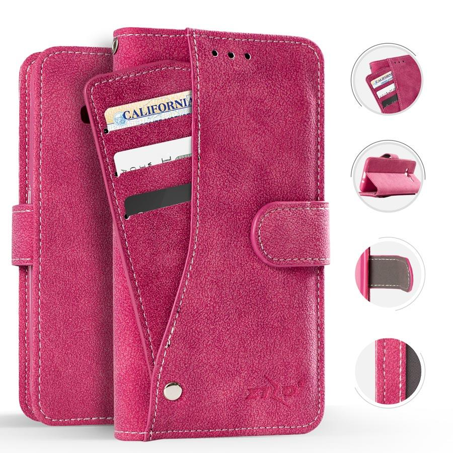 Zizo Slide Out Wallet Pouch ZTE Tempo X / Avid 4 - Lightweight Wallet Case W/ Credit Card And ID Holder (Pink)