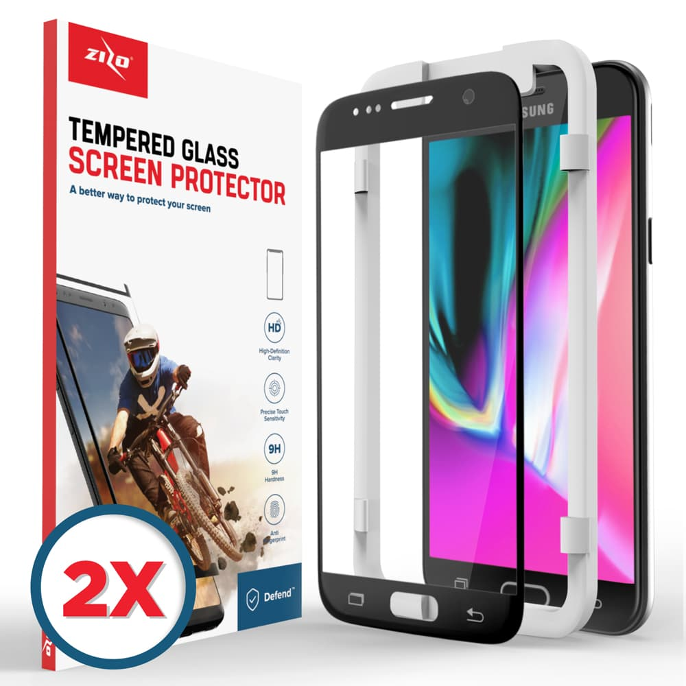 2 Pack Lightning Shield Samsung Galaxy S7 Tempered Glass Screen Protector