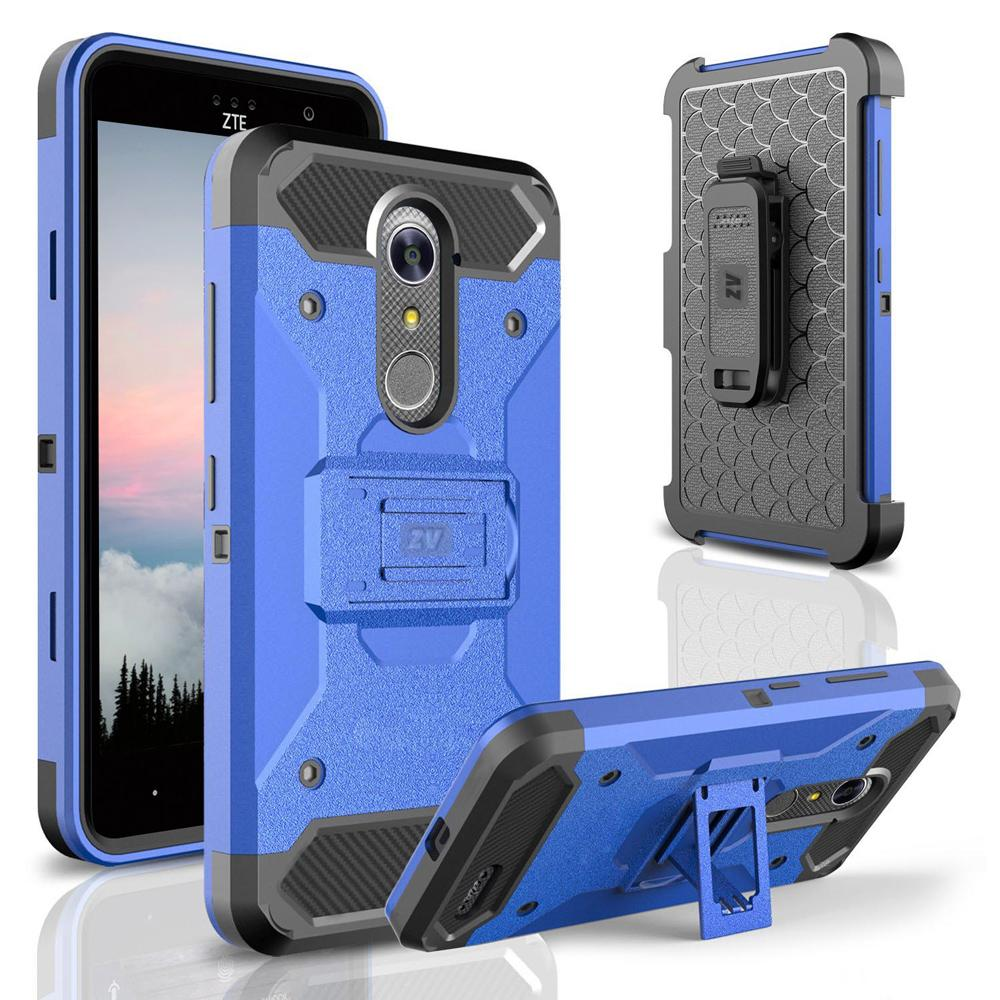 ZTE Grand X4 Case  Zizo Tough Armor Cover W/ [Heavy Duty Kickstand] Holster Clip [Shockproof Dual Layer Case] Strong Protective Slim - ZTE Blade Spark