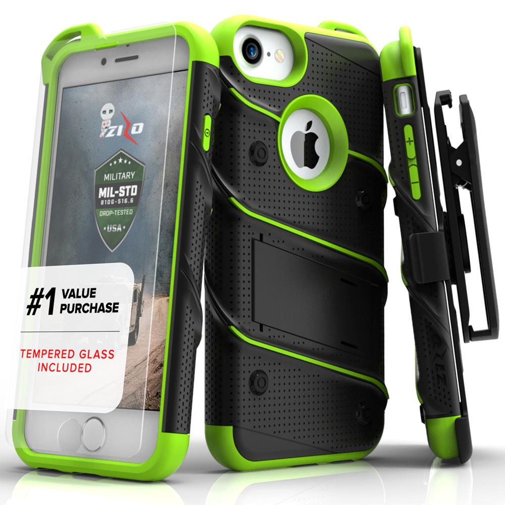Zizo Bolt Series for iPhone 6 | 6s Case – Military Grade Drop Tested with Tempered Glass Screen Protector Holster and Kickstand